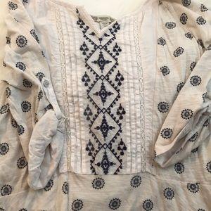 Long blue and white cotton preplum cotton shirt